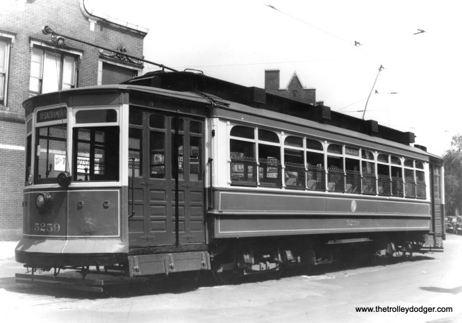 "CTA 5259 is at Waveland and Broadway, northern end of route 8 - Halsted. This was a Brill-American-Kuhlman car. Don's Rail Photos says, ""5251 thru 5300 were built by Brill in 1906, #15365, for CCRy. They were brought up to higher standards in 1909."" This photo was likely taken just prior to PCCs replacing older cars on Halsted. (Edward Frank, Jr. Photo)"