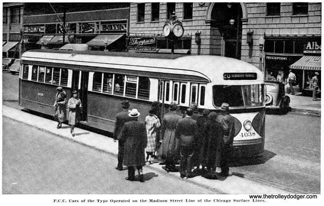 """Concerning CSL's Madison route, the article notes that """"this operation is conducted entirely with P.C.C. cars of a type representing nearly as great an advance over the standard P.C.C. car as that car was an advance over the types previously operated."""""""