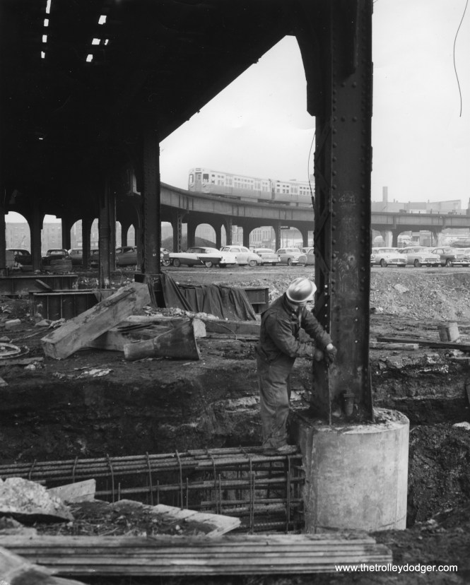 """In this March 17, 1958 photo by Kelly Powell, I think we are looking at construction just west of the Loop related to the Northwest expressway, and not Congress. By 1958, any such work for Congress had been taken care of years earlier. On the other hand, as of this date, CTA service was still running on the old Met """"L"""" east of Aberdeen Street (1100 West), and would have crossed the NW highway footprint just east of Halsted. Once service in this area was shifted to the new expressway median line in June 1958, this section of """"L"""" was removed."""