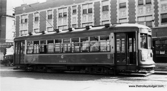 """CSL 3113 on the Ashland route. Andre Kristopans: """"3113 is at Ashland and Irving Park, on the NORTH ASHLAND shuttle route between Irving Park and Fullerton. It was made part of the main route in the 1930's when the Ashland bridge over the North Branch was built."""" (Robert V. Mehlenbeck Photo, Joe L. Diaz Collection)"""