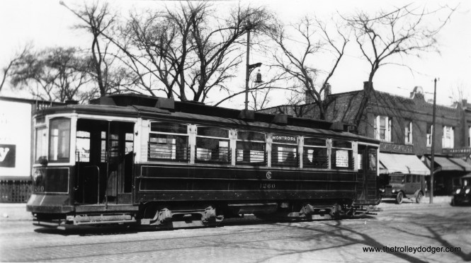 """CSL 1260 on Montrose. Andre Kristopans: """"1260 on Montrose might be at Knox. Does not appear to be at Milwaukee, but that was a 1930 extension, and this is likely before then."""" (Robert V. Mehlenbeck Photo, Joe L. Diaz Collection)"""