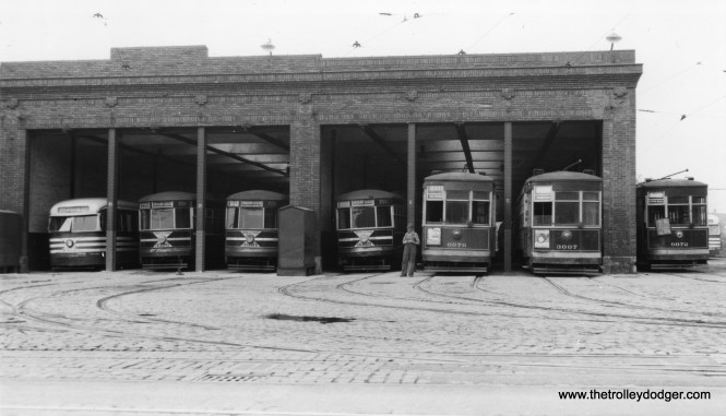 In this scene at Kedzie station (car house), we have CSL prewar PCC 7019, along with cars 3376, 3381, 3355, 6076, 3007, and 6072, with another PCC behind it. PCC service on busy route 20 - Madison was supplemented with some of the 1929 Sedans since the 83 cars purchased in 1936 were not enough for the line, which needed about 100 cars total in the late 1930s. (Robert V. Mehlenbeck Photo, Joe L. Diaz Collection)