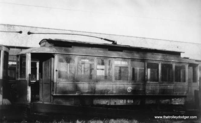 """Ancient CSL car 2144 at Clark and Devon, c1930-32. The side sign reads, """"Base Ball."""" (George Krambles Photo, Edward Frank, Jr. Collection)"""
