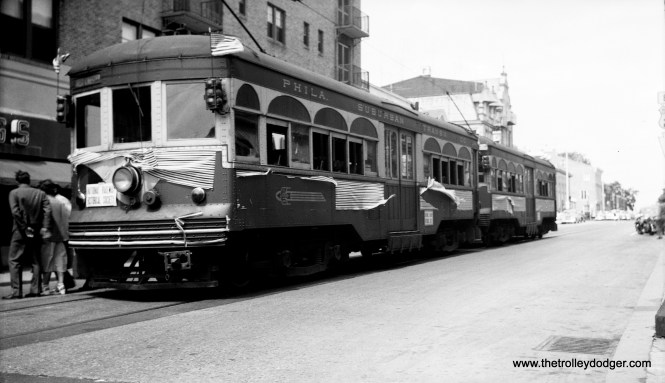 Cars 69 and 71 at the West Chester end of the line on June 6, 1954.