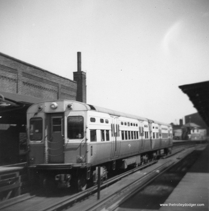 CTA 6705-6706 at Logan Square in 1963. (George Trapp Photo)