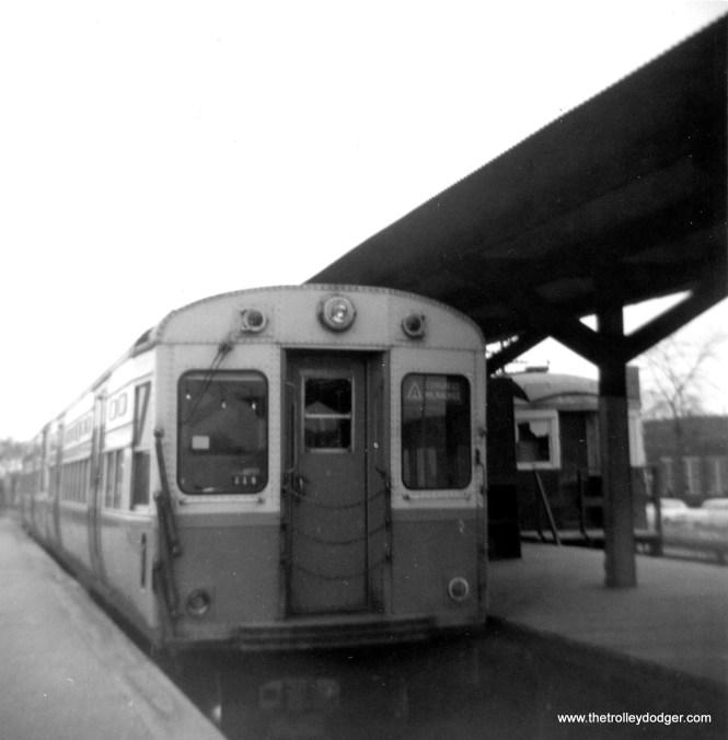 CTA 6698 at DesPlaines Avenue terminal in June 1963. (George Trapp Photo)