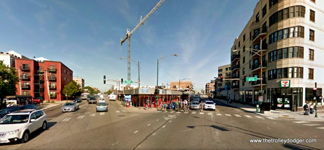 The same location today. Grand is on the left, Milwaukee on the right.
