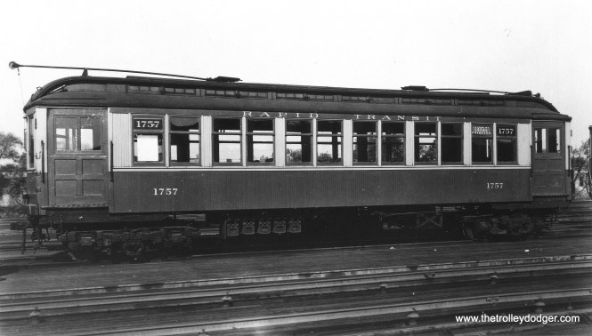 "CRT/CTA 1757, signed as an Evanston local. Don's Rail Photos: ""1756 thru 1768 were built by Jewett Car in 1903 as NWERy 756 thru 768. They were renumbered 1756 thru 1768 in 1913 and became CRT 1756 thru 1768 in 1923."" (Allen T. Zagel Photo, George Trapp Collection)"