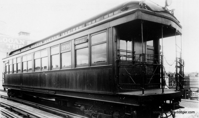 Met car 2730, again signed for 5th Avenue, which limits this photo to 1916 or earlier. This time we are at the Logan Square yard. (George Trapp Collection)