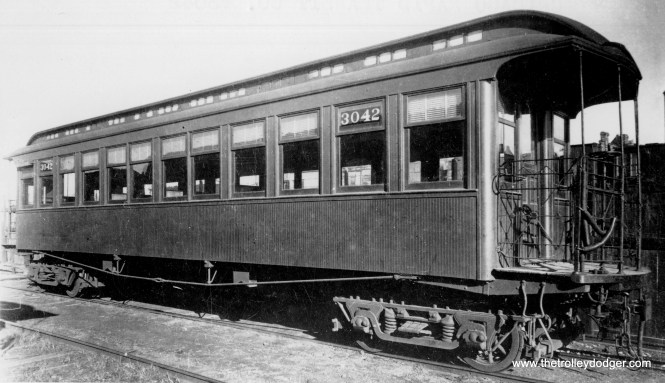 "CRT 3042 was a Lake Street car. According to Don's Rail Photos, ""3001 thru 3100 were built by Gilbert in 1893 as Lake Street Elevated RR 1 thru 100. In 1913 they were renumbered 3001 thru 3100 and became Chicago Rapid Transit 3001 thru 3100 in 1923."" (George Trapp Collection)"