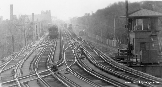 Here, we are looking south from Wilson in early days. There is a ramp going down to ground level at right. Those tracks were part of the freight operations that CRT took over from the Milwaukee Road. Fantrip trains sometimes made it down to street level there. (George Trapp Collection)