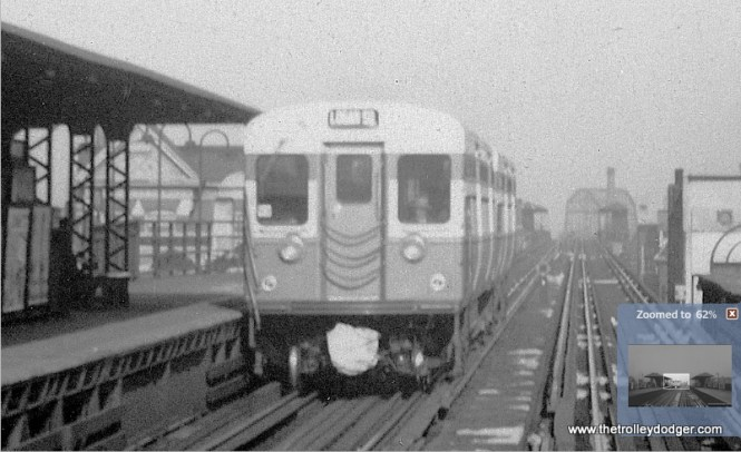 """A close-up of the previous picture. Note how there is something covering over the coupler. George Trapp: """"6000's at Madison-Paulina, cars fitted with gloves over couplers like Illinois Terminal's PCC's to protect electrical contacts. By the time 6131-6200 series delivered, hinged covers were fitted."""""""