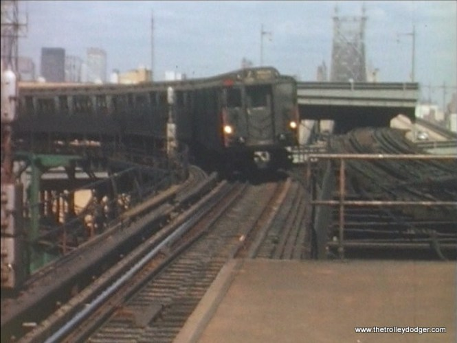 A New York rapid transit train on the 7 line in 1964.