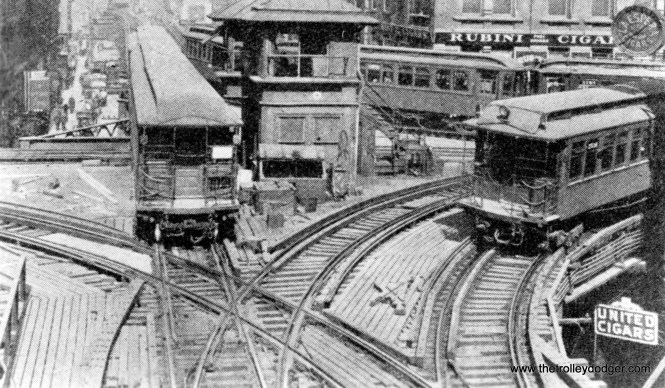 This famous photo shows Tower 18 at Lake and Wells in 1917, a very busy intersection indeed. We are looking north along Wells. In 1969, the tower was torn down and replaced in a slightly different location, so that Lake Street trains could continue directly east instead of having to turn south on Wells. This was done to facilitate pairing the Lake line with the new Dan Ryan service. (George Trapp collection)