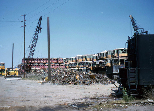 Pacific Electric street cars waiting to be scrapped. National Metal and Steel Corp., Terminal Island, Long Beach, California. May 1959. (Robert Vredenburgh Photo)