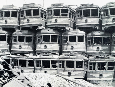 """Pacific Electric """"Hollywood Cars"""" stacked for scrap on Terminal Island, near Long Beach."""
