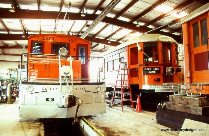 10. Iowa Traction Steeplecab # 51 and Interurban car # 727 inside the shop at Emery.