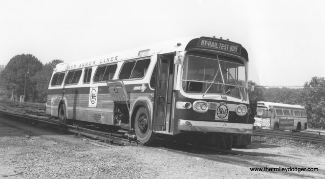 "Although the late Merritt Taylor, Jr. may have been, in some fashion, a ""closet railfan,"" he was also responsible for the ill-fated Railbus experiment on the Red Arrow Lines in 1967-68. This was an attempt to replace rail with buses that could also run on railroad tracks. Fortunately, the effort proved to be a failure. Taylor had found that he couldn't simply convert all his rail lines to bus service, without losing much of the rights-of-way in turn due to the terms under which rail service had started many years earlier. It turns out that the requirements of a railcar and a bus are too much different to be combined into a single vehicle. Within a couple years of this experiment, Taylor sold Red Arrow to SEPTA, and the Norristown, Media and Sharon Hill lines remain rail to this day."