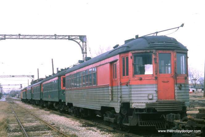 It's April 1964, more than a year after North Shore Line service ended. Car 251 is at the head of the line here, and has already been sold to the Illinois Railway Museum, where she runs today. This may also be a J. W. Vigrass photo, but it is not marked as such.