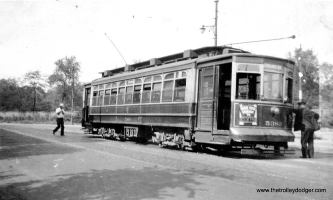 CSL 5383 is laying over at the north end of the Ashland line, at Southport and Clark, on August 4, 1934. Since the Ashland bridge over the Chicago River was not opened until 1936, this car would have crossed the river via Southport. (Earl W. McLaughlin Photo)