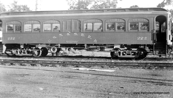 """Here is a rare picture. Don's Rail Photos notes, """"222 was built by Kuhlman in 1908 for the CLS&SB and was numbered between 101 and 110. It was rebuilt in 1927 to a deluxe coach and numbered 222. Shortly afterwards, when the 200s arrived, it was used by the Way & Structures Dept. Later it was used as a newspaper car, and it was scrapped in 1941."""" It is identified in this picture as a maintenance of way car."""