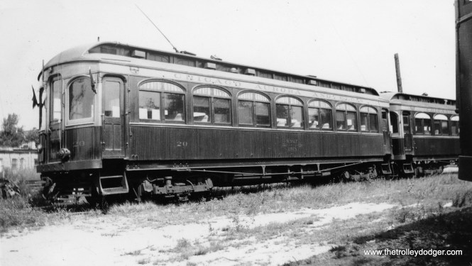 """Don's Rail Photos says CA&E car 20 """"was built by Niles Car in 1902. It was preserved by Railway Electric Leasing & Investing Corp in 1962. It was then transferred to Fox River Trolley Museum in 1984. It is the oldest operating interurban in the United States."""""""