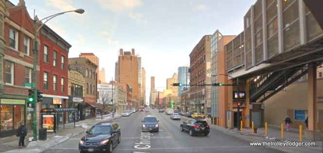 "A contemporary view of Chicago Avenue looking east from the ""L""."