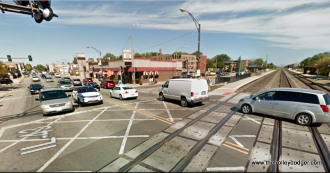 Harlem and Stanley in Berwyn today. The Harlem stop on the Burlington has been updated, but is still in the same location as the 1936 picture.
