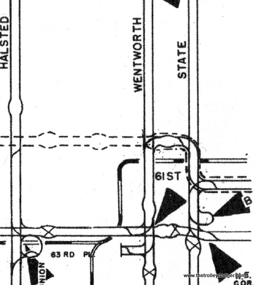 """Here is an enlargement of part of the 1952 CTA Surface System track map. It does show a track connection between Wentworth and State. Possibly some of these connections were kept for bypass use in case of flooded viaducts, such as the one that resulted in the infamous 1950 crash between a PCC car and a gasoline truck. M. E. writes: """"The enlarged map you added of the 59th-Wentworth trackage made me think about how the 4 Cottage Grove cars got to the 69th and Ashland barn. Try this: Cottage Grove to 61st, west to State, north to 59th, west to Wentworth, south to 63rd, west to Ashland, south to 69th. You suggested that all this trackage was kept open (at least as late as 1952) to bypass flooded viaducts such as the one on State south of 63rd. This theory would also apply to the viaducts on the 63rd St. line. Much of that line between Wentworth and State consisted of viaducts for four passenger railroads (New York Central + Nickel Plate; Pennsylvania; and Rock Island), as well as Englewood Union Station. In fact, between the station and State St. there was a big yard for New York Central freight, which accounted for the majority of the viaduct over 63rd St. So, if the 63rd St. viaducts were to flood, the 63rd St. cars (let's say heading east) would turn north on Wentworth to 59th, east to State, south to 63rd, then east on 63rd."""