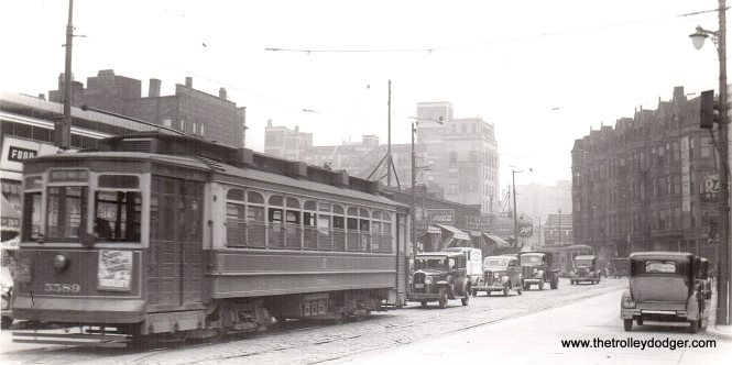 CSL 5589 is northbound at Clark and Wrightwood in the 1930s. (Edward Frank, Jr. Photo)