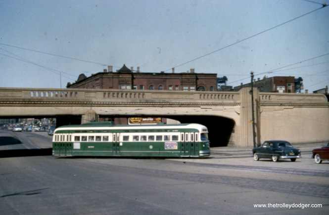 CTA 4063 at Cermak and Clark on April 11, 1954. There was a jog on route 22, where cars went between Clark and Wentworth.