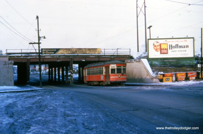 "CTA 3178 on Cermak in April 1950. We sometimes get a late snow like this here in Chicago. The billboard advertises ""squint-free, strain free"" Hoffman TVs."