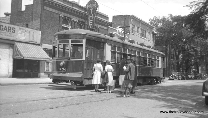 Riders wait to board the rear of CSL 3156 at Lake and Austin in the late 1930s. This car was on Through Route 16 (State-Lake). That is the Park Theater behind the car. It closed sometime around 1952.