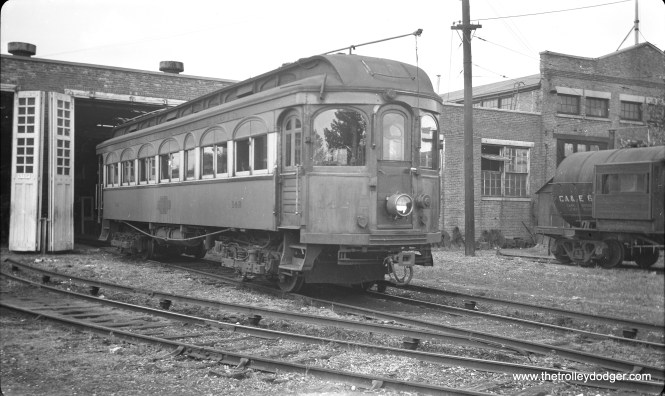 CA&E 142 at Wheaton in July 1948. Some of these cars were used on the North Shore Line as late as 1946. We wrote about that on the previous blog we worked on. Check out the post A Mystery Solved (August 6, 2013) for more details.