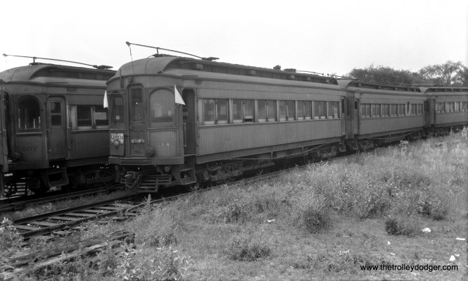 """CA&E 34 at the Wheaton Yards in June 1947. Don's Rail Photos: """"34 was built by Stephenson in 1903. It was modernized in February 1940 and retired in 1959."""" (Walter Hulseweder Photo)"""