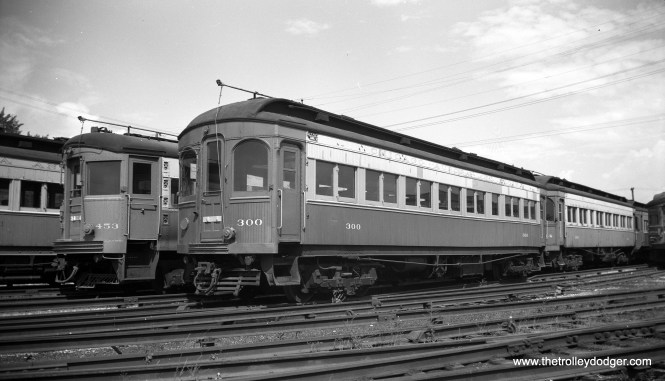 """CA&E 300 and 453 in Wheaton. Don's Rail Photos: """"300 was built by Niles Car & Mfg Co in 1906. It was modernized in May 1942."""" (Anderson Photo)"""