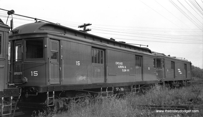 """Express car 15 at Wheaton on June 18, 1947. Don's Rail Photos says, """"15 was built by McGuire-Cummings in 1910. It was scrapped in 1953."""""""