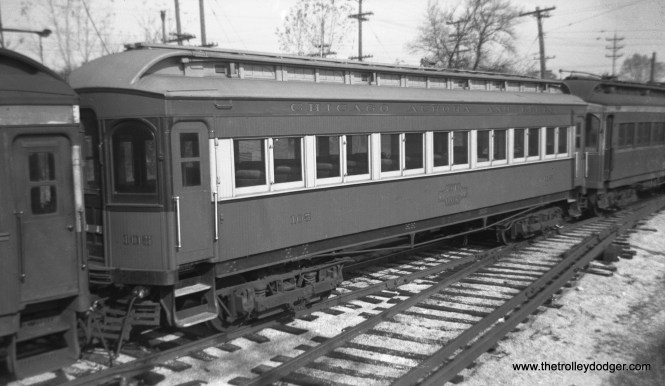 """Don's Rail Photos: """"105 was built by Stephenson in 1903. It was modernized in August 1940 and retired in 1955. """""""