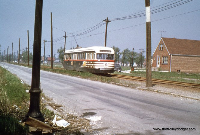 CTA PCC 4019 heads east on 63rd Place private right-of-way in 1949. This is a completely built up residential area today.