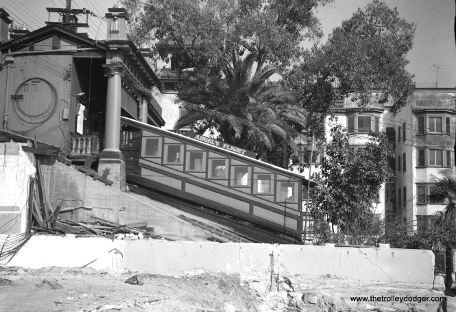 A side view of Angel's Flight in 1964, after nearby buildings were being demolished. (Leo Callos Photo)