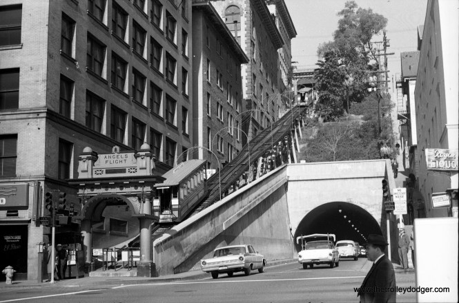 Angel's Flight at its original location (3rd and Hill Streets) on July 5, 1962, before nearby buildings were torn down. (Leo Callos Photo)