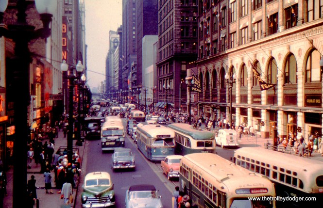 The view looking north from State and Van Buren in the 1950s.