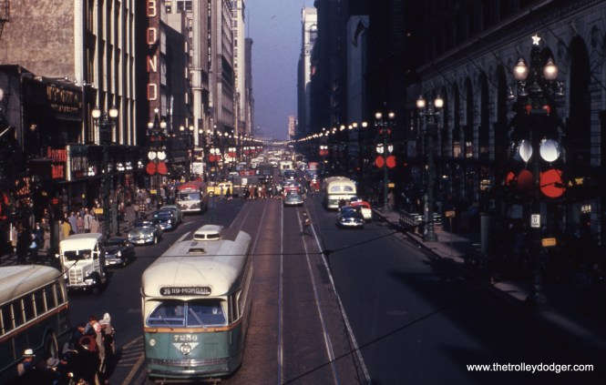 CTA PCC 7256 heads south on State Street at Van Buren in the 1950s.
