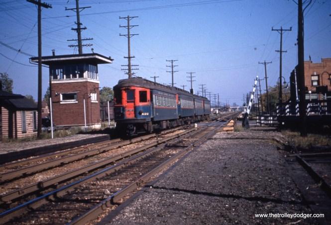 CA&E 422 at the head of a four-car train.