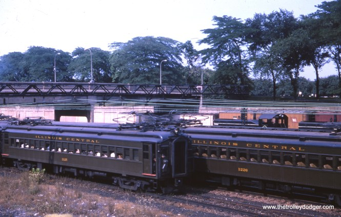 Illinois Central electric suburban cars 1125 and 1226 in downtown Chicago on July 17, 1965.