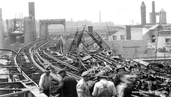 """This picture, taken on May 21, 1934, shows how the CRT Stock Yards """"L"""" branch was extensively damaged by fire two days earlier. Service west of Halsted did not resume until January 16, 1935."""