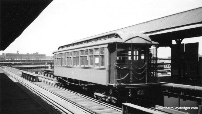 """A CRT gate car on the Stock Yards branch of the """"L""""."""