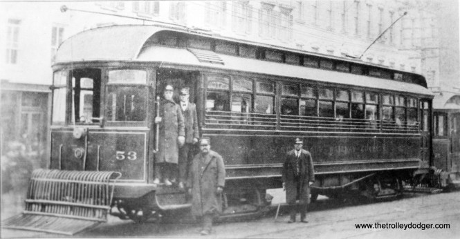 "Schenectady Railway #53. ""Wood suburban car, built by St. Louis Car Co. in 1901 as part of the 50-55 series. Renumbered 550-555, Albany car."" According to Dr. Harold E. Cox, the renumbering took place in 1902 and the series was converted to PAYE (pay as you enter) in 1915."