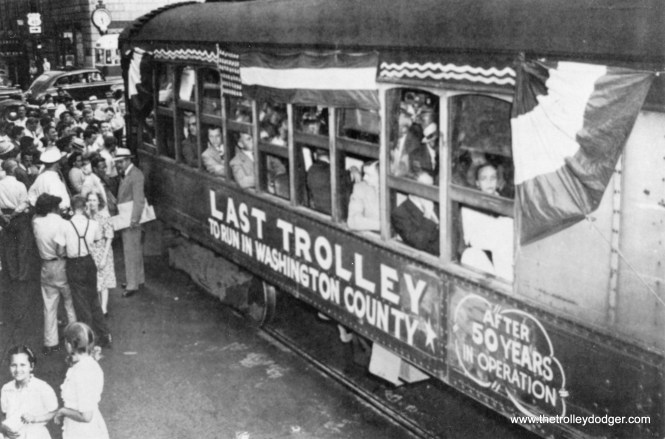 The last passenger trolley (1947) on the Hagerstown-Williamsport line.