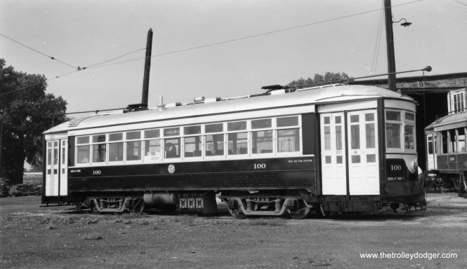 "C&WT 100, most likely at the North Riverside car barn. Car 130 is at right. Don's Rail Photos: ""100 was built by McGuire-Cummings in 1917. It was scrapped in 1948. 130 was built by McGuire-Cummings in 1914. It was scrapped in 1948."" (Joe L. Diaz Photo)"